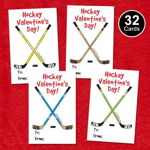 32 Youth Hockey Valentine's Cards - Hockey Sticks. Kids Hockey Valentine's exchange trading cards. Great for your child to give at school or to their hockey teammates. Four card designs featuring different color hockey sticks in green, brown, blue and yellow.