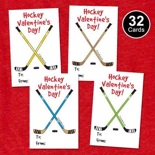 32 youth hockey valentines cards hockey sticks kids hockey valentines exchange trading cards