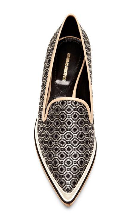 Leather and Jacquard Pointed-Toe Loafers by Nicholas Kirkwood - Moda Operandi