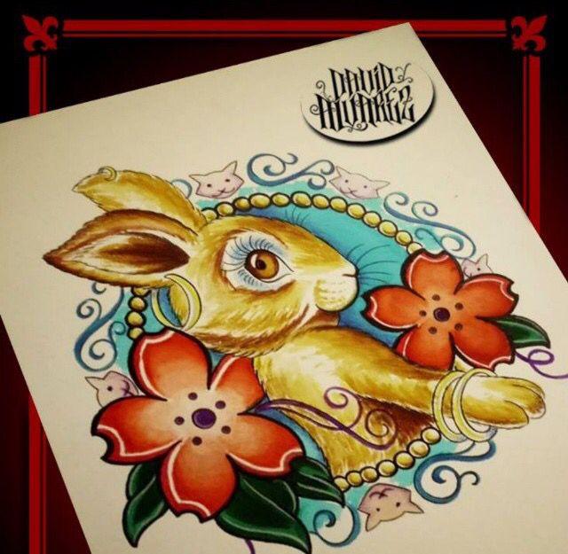 Diseñado y tatuado por nuestros tatuadores / Designed and tattooed for our tattoo artists. https://www.facebook.com/WildCat-Tattoo-137602613003219/ #Conejo #Bunny #Rabbit #Draw #Colors #Art #Flowers #Pencils