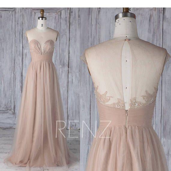 2017 Khaki Tulle Bridesmaid DressSweetheart Illusion Wedding