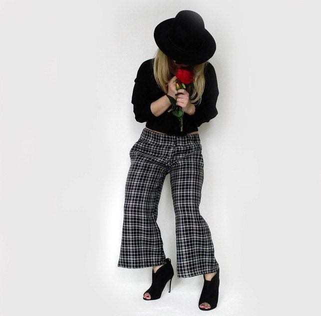 Checkered Cropped Pants -womens pants -culottes by TheFingermade on Etsy