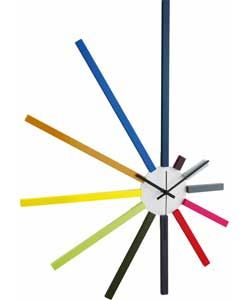 Use this idea to create a clock with Cuisenaire Rods.  - Habitat Spectrum Large Spoke Wall Clock.