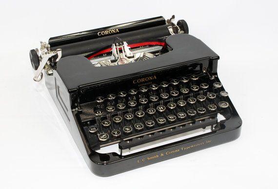 Smith Corona Typewriter - Manual Black Typewriter - Vintage Typewriter Working Fully Restored by BrooklynRetro