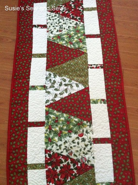 Christmas Holiday Quilted Table Runner by SusiesSewAndSews. Really like this design! MF