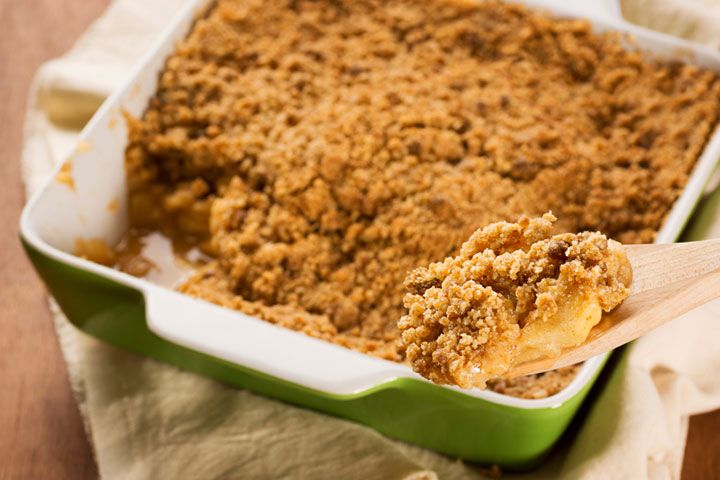 Apple Crisp from Dr. Oz. This holiday apple crisp recipe will give you the warm fuzzy feeling you crave – without the regret! I would choose coconut oil over canola oil. And I wouldn't bother with the cornstarch - the oats and flour from the topping will thicken the apple filling. Any kind of milk sub would do. I use almond. Enjoy!