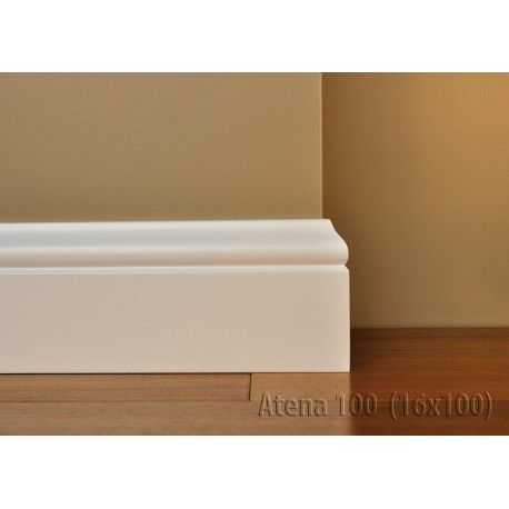 Listwa Atena 100 z serii Lagrus to biała listwa przypodłogowa z finezyjnym wykończeniem. Jej wysokość to 100 mm.