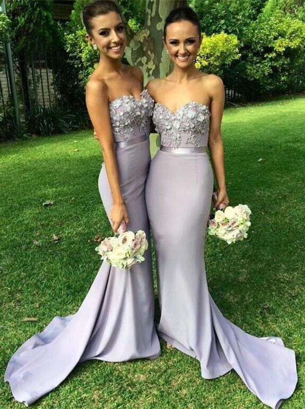 Buy Gorgeous Mermaid Long Strapless Bridesmaid Dress with Appliques 2016 Bridesmaid Dresses under US$ 134.99 only in SimpleDress.