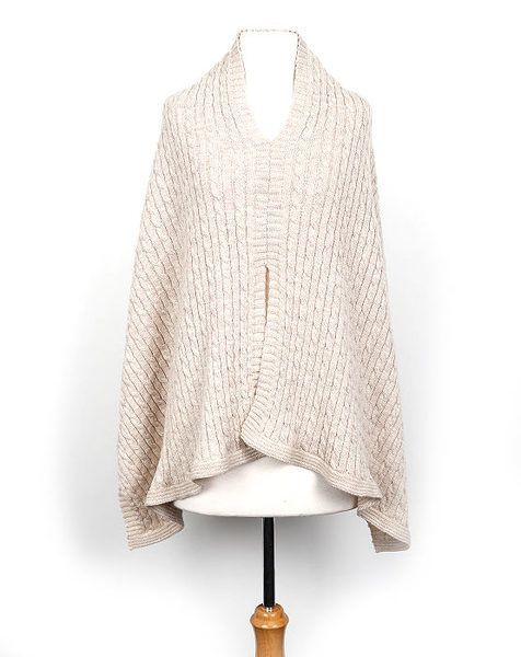 Indus Cable Knit Merino Wool Poncho Oatmeal   Krinkle Gifts