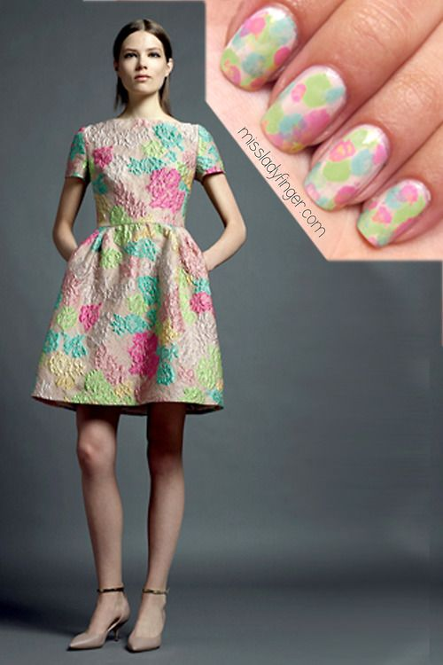 Valentino Resort '13 ... Unique manicure inspired by the runway ... Thanks for the nail art idea Miss Ladyfinger! (Want YOUR nails to look like this?? I know I sure do!! Click on photo to view the tutorial on this design!)