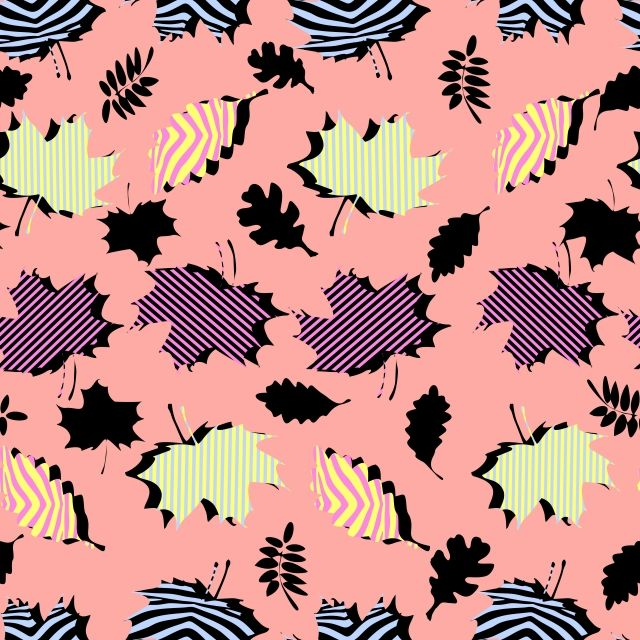 Awesome Unique Autumn Fall Foliage Vector Pattern With Memphis ...