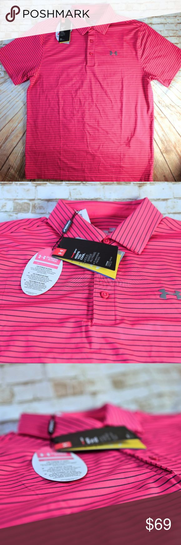 UNDER ARMOUR POWER IN PINK BREAST CANCER GOLF POLO UNDER ARMOUR POWER IN PINK BREAST CANCER GOLF POLO SHIRT SIZE L BRAND NWT UPF30 Under Armour Shirts Polos
