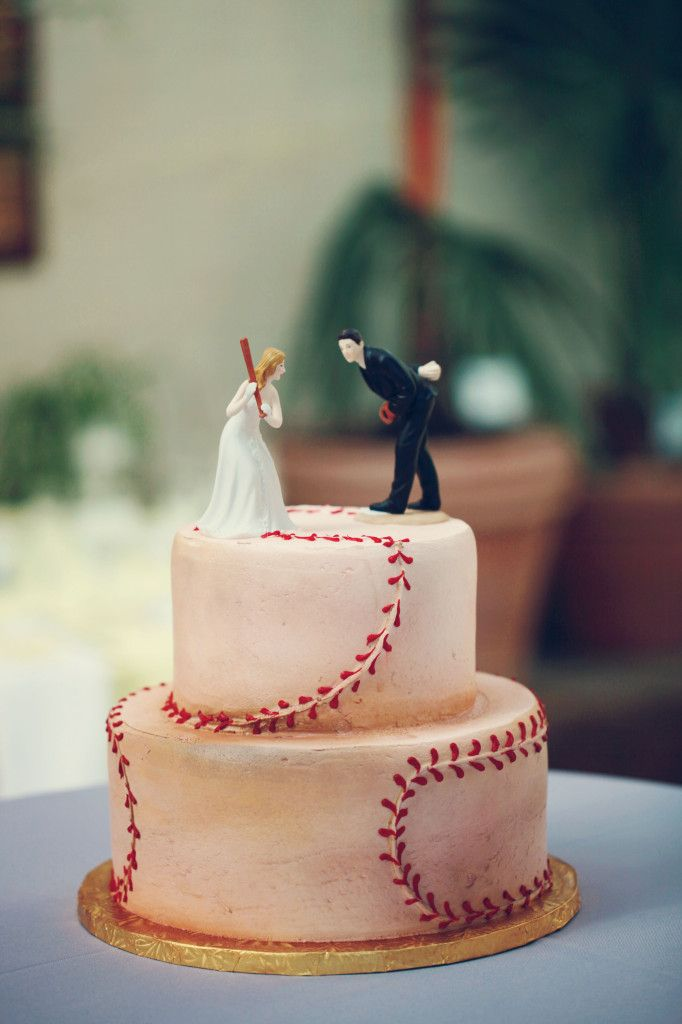 baseball groom's cake, toppers from david's bridal