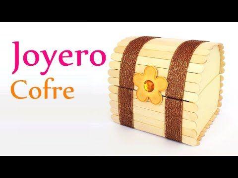 """Manualidades: JOYERO """"Cofre"""" con Palitos de Helado (palos de paleta) - DIY Innova Manualidades - YouTube"""