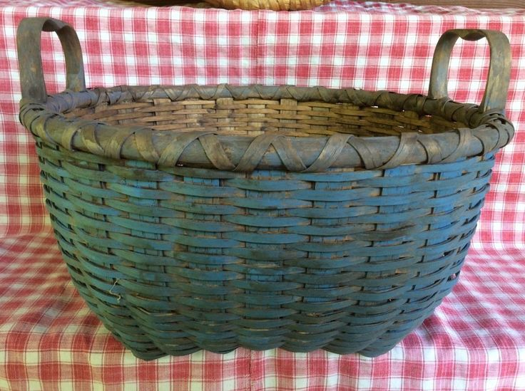 Primitive Painted Blue Basket    sold  Ebay   165.00.    ~♥~