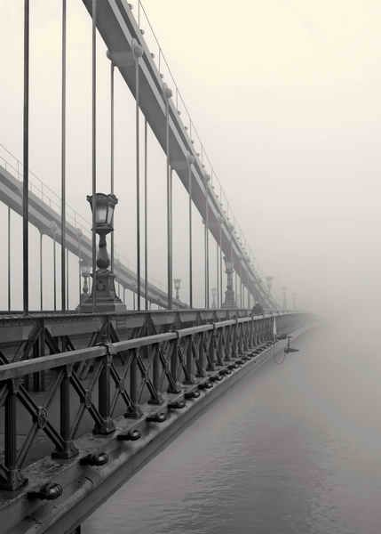 The Chain Bridge is one of the main sights in Hungary's capital, Budapest. This suspension bridge was built in the XIX. century and was the first permanent connection between Buda and Pest. Since then it has become the symbol of the city. Late autumn mornings are often foggy and it gives a mystical feeling to this historical landmark.