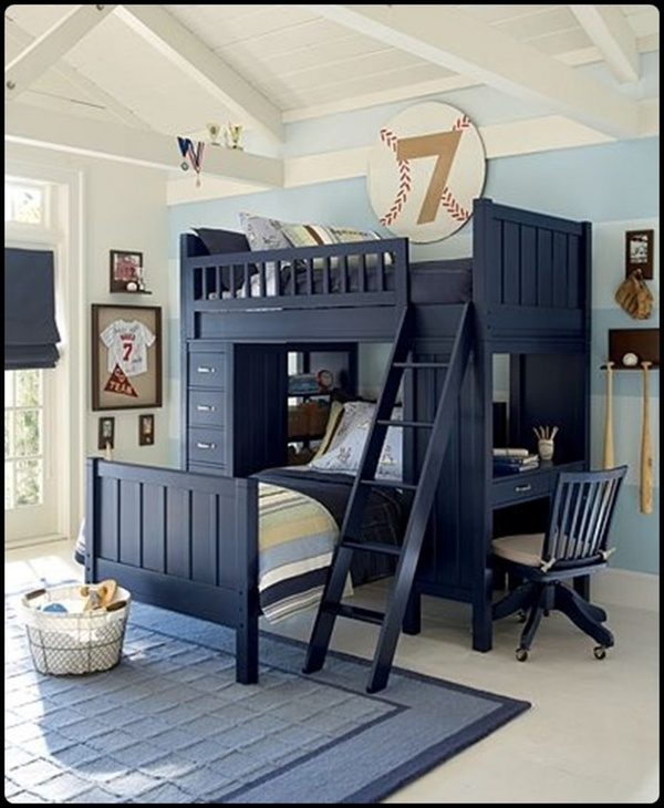 40 Cool Boys Room Ideas - Style Estate - I love the blue furniture! I want  to paint the boys bunk bed this color soooo BAD! Pinning this for when we  have ...