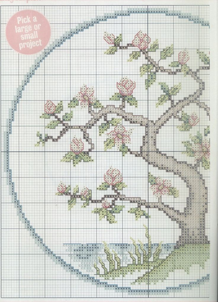 Borduurpatroon Bloem- Plant- Dier *Cross Stitch Flower- Plant- Animal ~Japanse Bloesemboom 1/2~