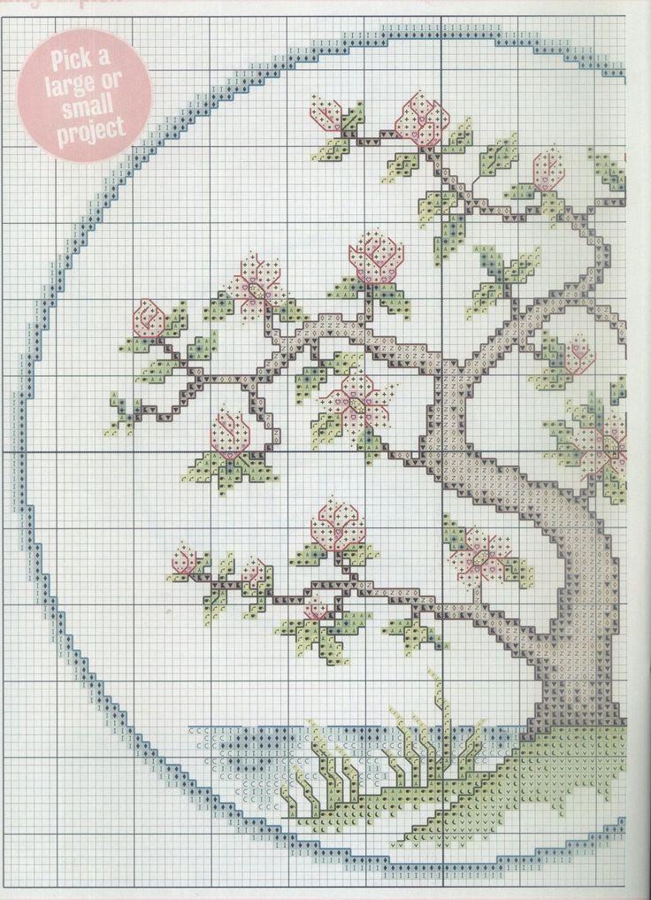 Borduurpatroon Bloem- Plant- Dier *Cross Stitch Flower- Plant- Animal ~Japanse Bloesemboom 1/2~