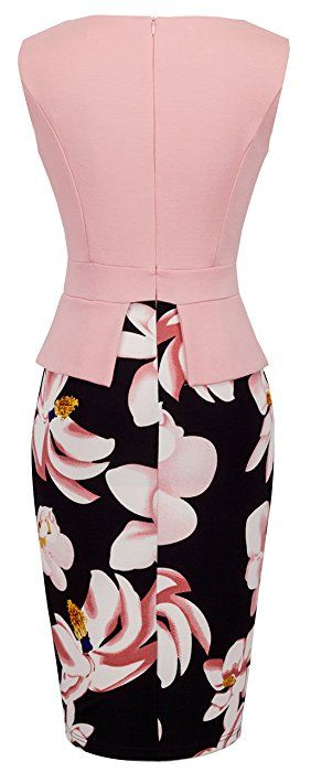 Homeyee Women's Elegant Chic Bodycon Formal Dress B288 (L, Light Pink)