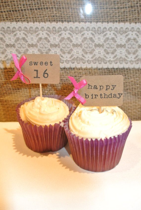 12 x handmade personalised cupcake toppers picks by Tinkerpans, £3.00