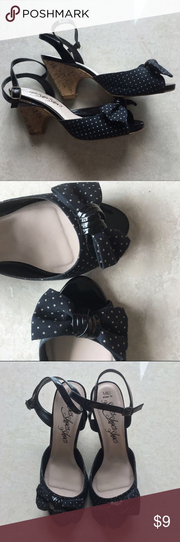 Marks & Spencer Polka Dotted Heels Extremely cute and great for any occasion. Small heels that are great for a casual outfit. UK 7.5 = US 9.5 Marks & Spencer Shoes Heels