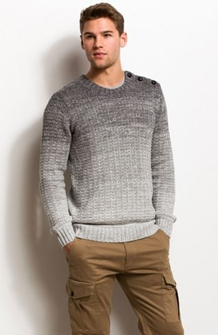 Buttoned Ombre Crewneck Sweater - New Arrivals - Mens - Armani Exchange