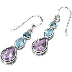 Silver Blue Topaz and Swarovski Amethyst Drop Earrings #Gemstone #Jewellery