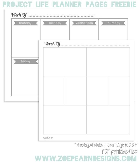 Project Life Planner Pages Freebie