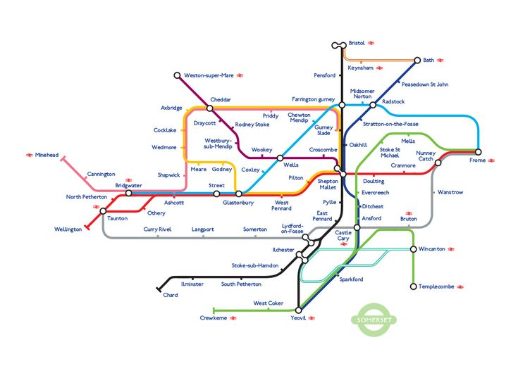 A representation of Somerset in the style of a London Underground Tube Map