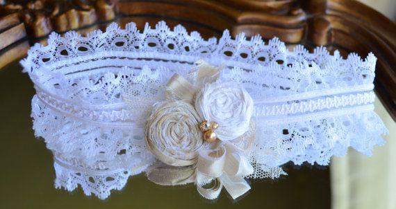 Beautiful Handmade Ivory and Gold Dupioni Silk Garter