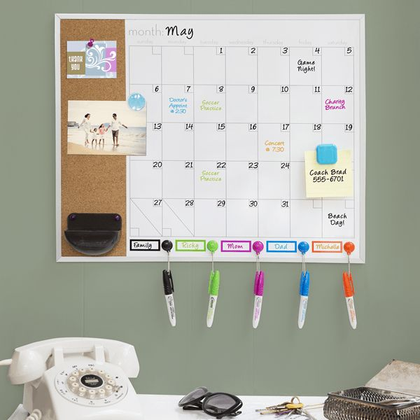 Office Calendar Board : This magnetic dry erase combo board with