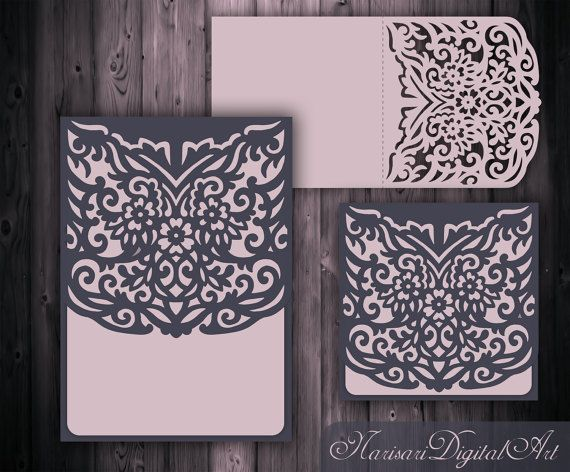 wedding invitation card template 5x5 39 39 5x7 39 39 laser cutting file silhouette cameo cricut. Black Bedroom Furniture Sets. Home Design Ideas