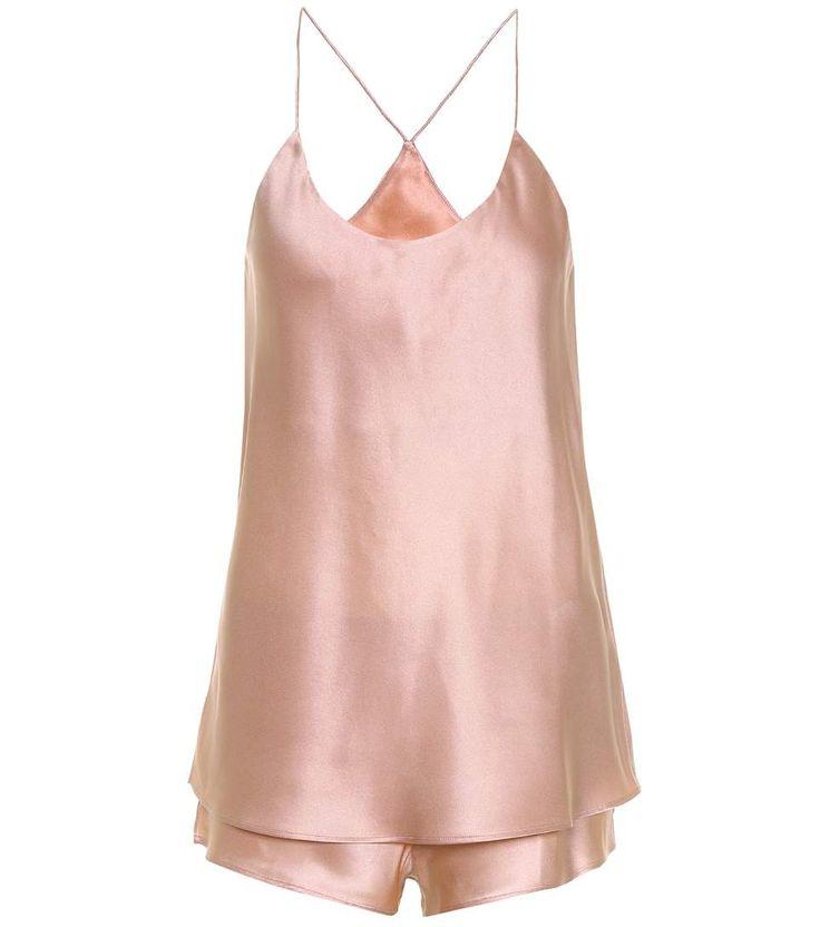 aolivia von Halle pink blush powder Bella silk-satin pyjama set #lingerie #camisole #silk #sexy #french #chic