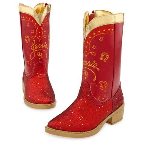 Red Sparkle Jessie Boots for Girls - Kick up some fun for your flower girl with these Red Sparkle Jessie Boots. Red and gold glitter accents and western styling make these boots the perfect way to complete your Jessie Costume (sold separately).   Costumes & Costume Accessories   Disney Store