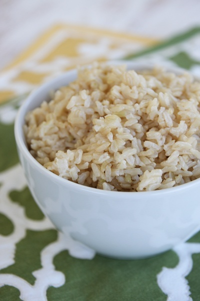 Perfectly cooked MICROWAVE brown rice.. no soaking required :)
