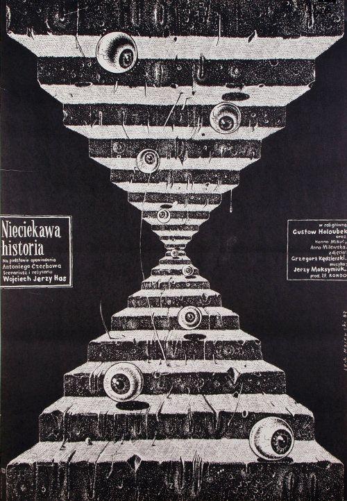 Nieciekawa historia   Original Polish Movie Poster   film, Poland   director: Wojciech Jerzy Has   actors: Gustaw Holoubek, Hanna Mikuc   designer: Lech Majewski   year: 1983