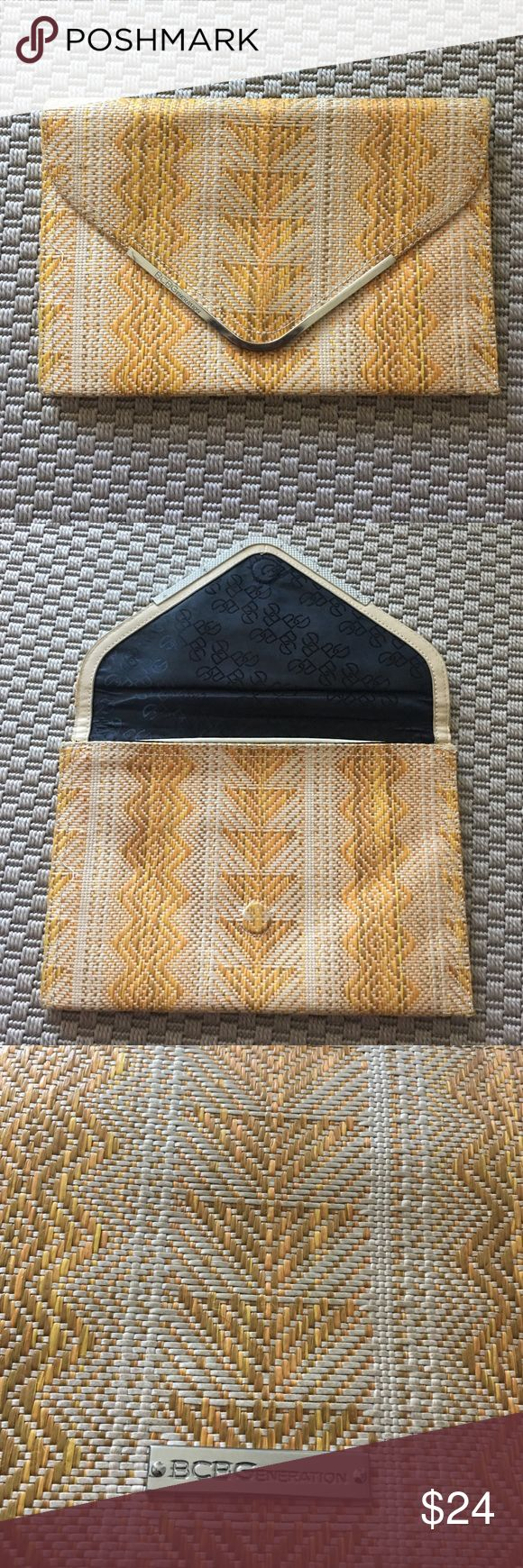 Woven envelope clutch (Khaki & Tangerine) A barely used woven envelope clutch. Perfect for vacation maxi dresses or Caribbean trips! BCBGeneration Bags Clutches & Wristlets