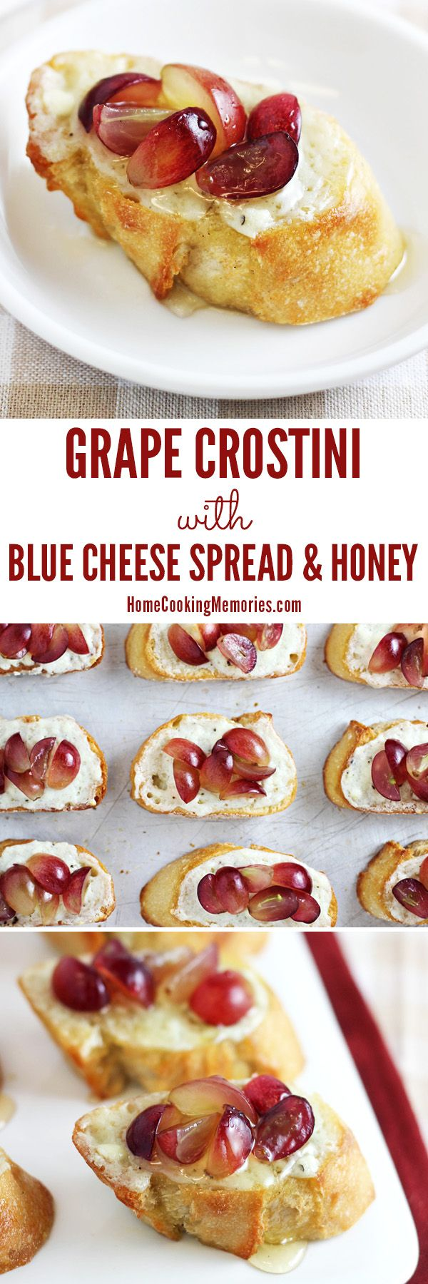 Grape Crostini Appetizer With Blue Cheese Spread And Honey