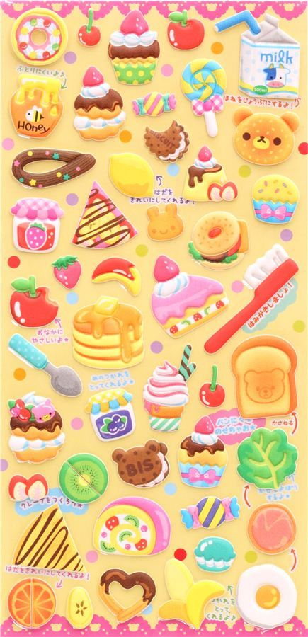 bear food pancake bagel sponge stickers Q-Lia Japan 2