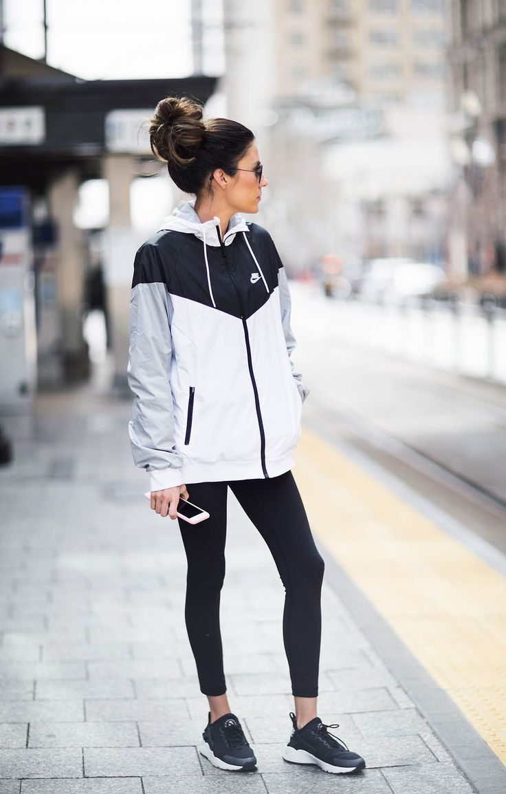 DETAILS: COLORBLOCKED JACKET | STRIPED LONG SLEEVE TEE | BLACK LEGGINGS | BLACK SNEAKERS | SUNGLASSES…