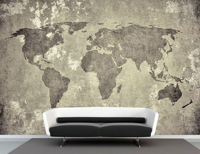 Vlies fotobehang #wereldkaart vintage - Reizen en wereldse sferen | Muurmode.nl