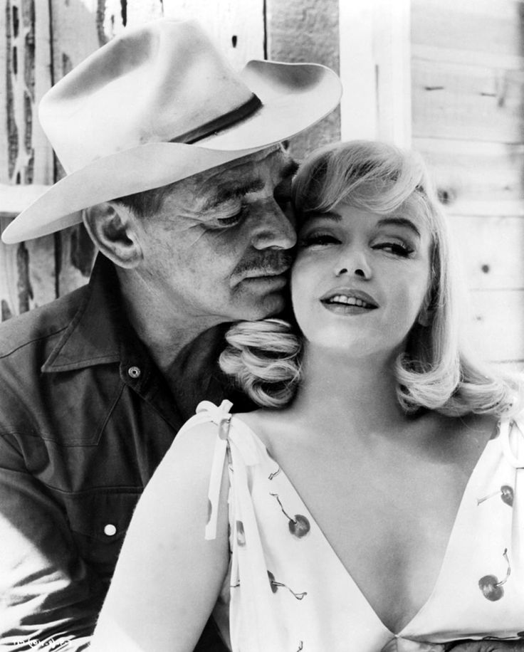 Marilyn Monroe and Clark Gable on the set of The Misfits, 1961, directed by John Huston.