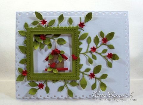 Good Sunday morning.  I have a bright and cheerful framed birdhouse card to share with you today made using the Poppystamps Massa Leaf Frame,  My Favorite Things Birdhouses, Stitched Square Scallop Ed