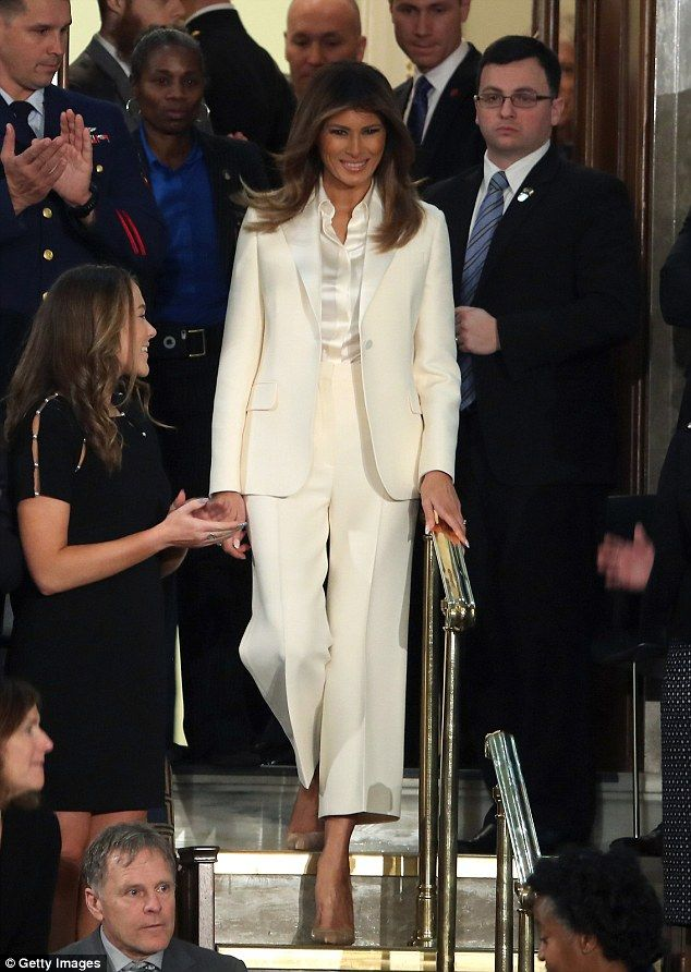 Suit up like #Melaniatrump with suffragette style#christiandior #firstladystyle #melaniatrumpstyle #lookforless #DailyMail