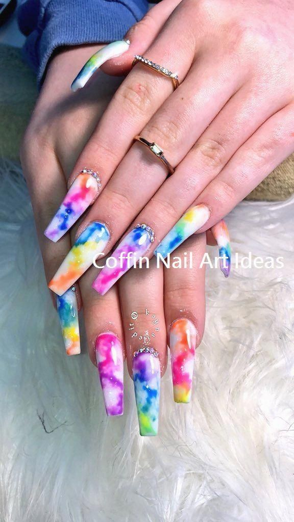 Pin By Jackie On Nails In 2020 Tie Dye Nails Rave Nails Pretty Acrylic Nails