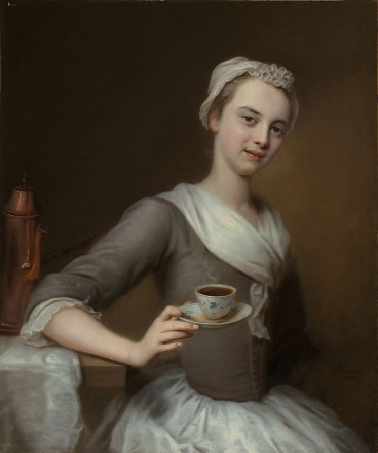 'Eine Kaffee Schenkerinn' Portrait of the Artist's Daughter, Offering a Cup of Coffee, 1732, by Balthasar Denner (1685-1749)