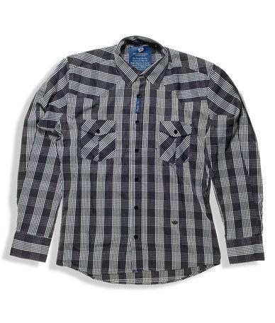 Ανδρικό καρό πουκάμισο σε κανονική γραμμή, βαμβακερό. Μοντέρνο πουκάμισο, διαθέσιμο σε γκρι-λευκό καρό με ραμμένη λεπτομέρεια στους αγκώνες. Συνδυάστε το καρό πουκάμισο με μονόχρωμο υφασμάτινο παντελόνι ή τζιν για casual εμφάνιση.