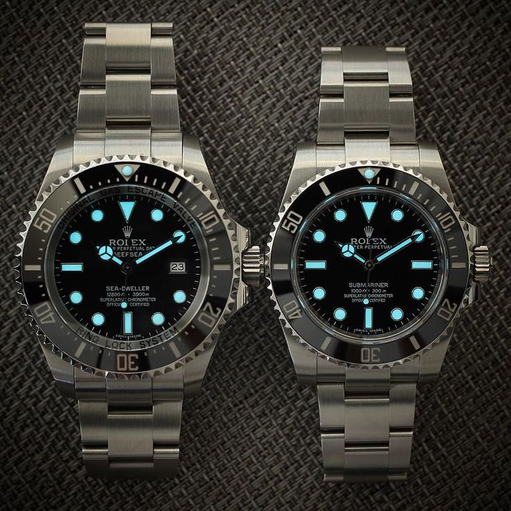 Some side by side lume from the two brothers. Ones a little chunkier than the other. Left 116660 Deep Sea Sea Dweller Right 114060 Submariner No Date What one would you pick? #Rolex #dssd #116660 #watchalerts #wristporn #wristwatch #seadweller #watchaddict #lume #watchoftheday #rolexdiver #divewatch #toolwatch #Mondani #instawatch #lumeshot #watchshot #ultimate_watches #deepsea #swissmade #dailywatch #watchfam #luxurywatch #dssdposse #rolexwatch #rolexholics #submariner by rolexdiver