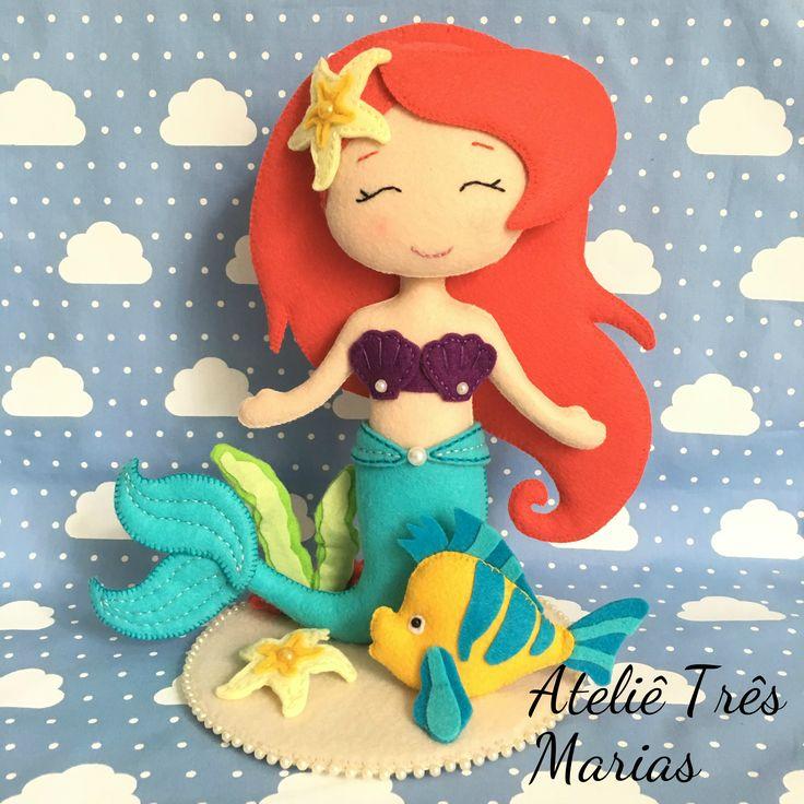 Sereia em feltro, sereias, fundo do mar, mermaid, little mermaid, pequena sereia, felt, festa fundo do mar, topo de bolo, centro de mesa, lembrancinha